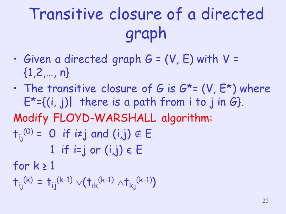 Transitive closure of a directed graph