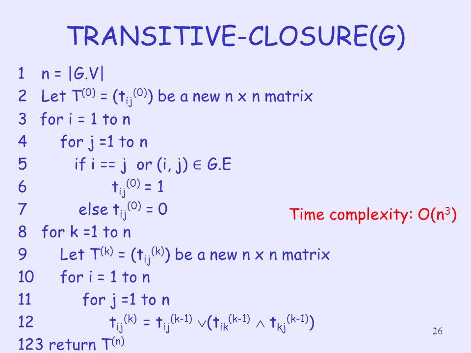 TRANSITIVE-CLOSURE(G)