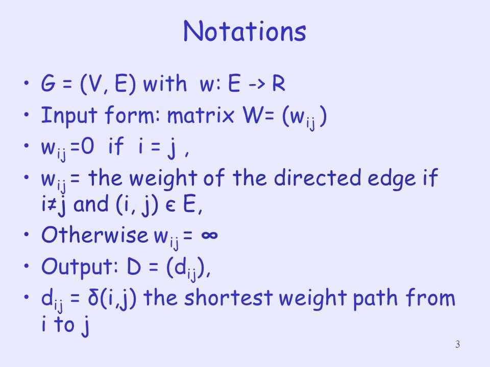 Notations G = (V, E) with w: E -> R Input form: matrix W= (wij )