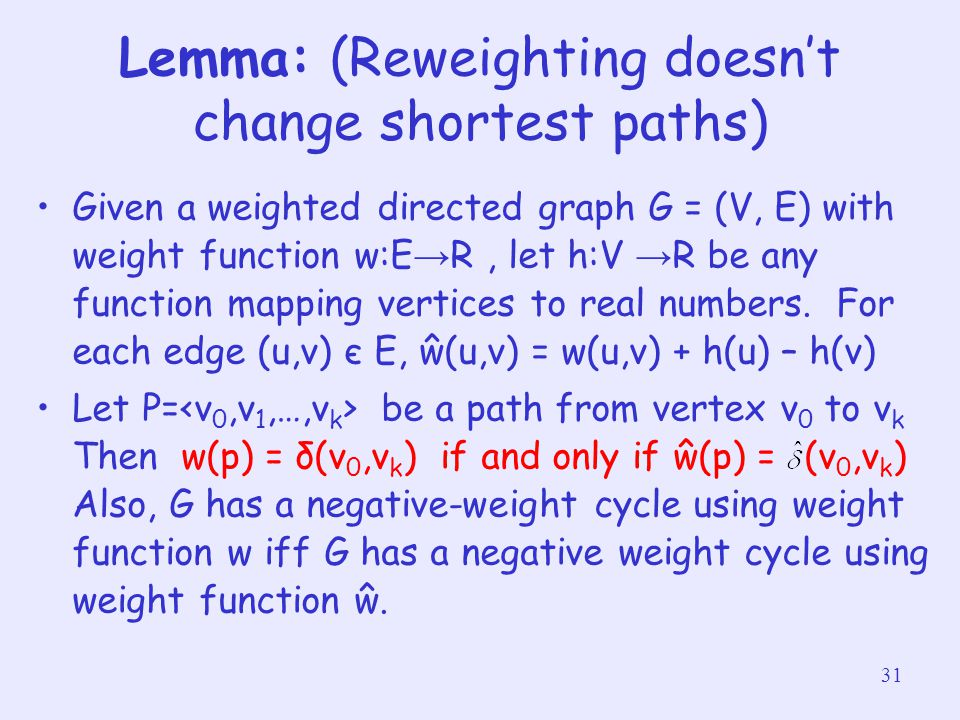 Lemma: (Reweighting doesn't change shortest paths)