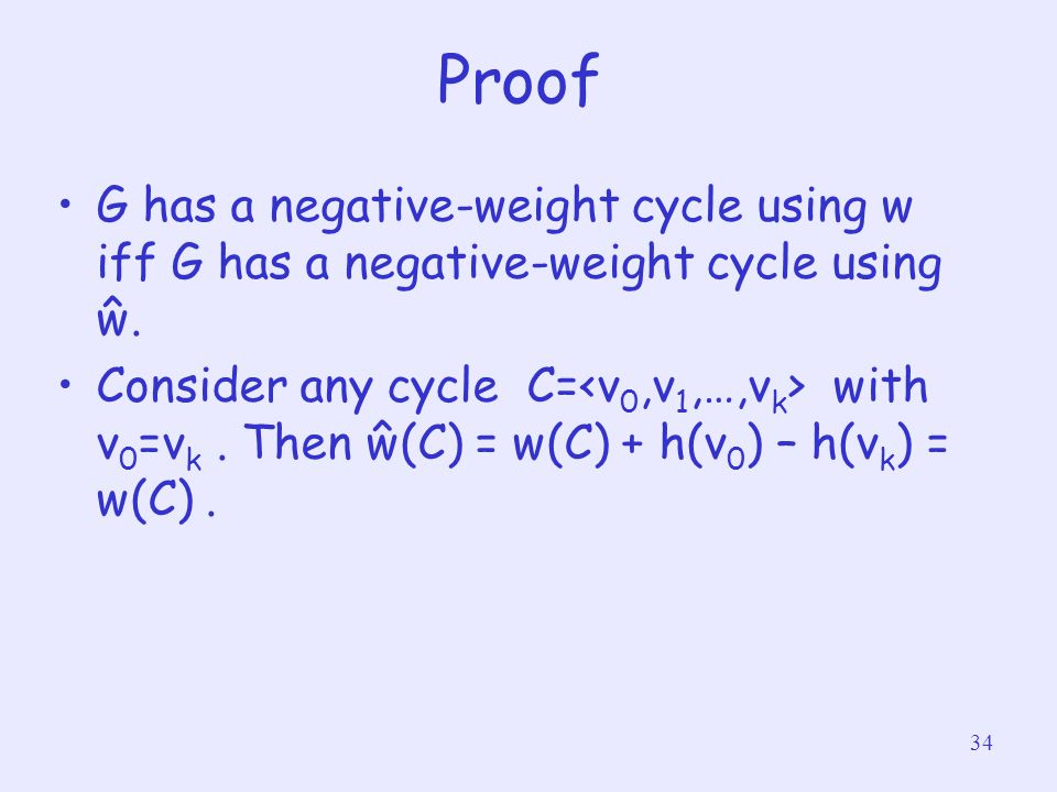 Proof G has a negative-weight cycle using w iff G has a negative-weight cycle using ŵ.