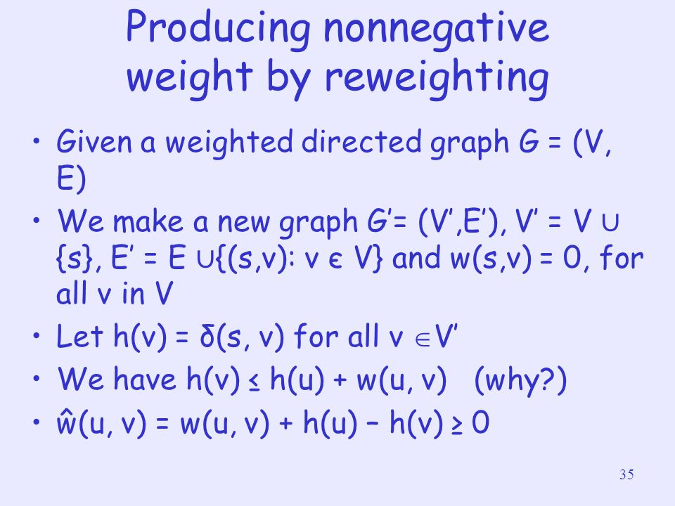 Producing nonnegative weight by reweighting