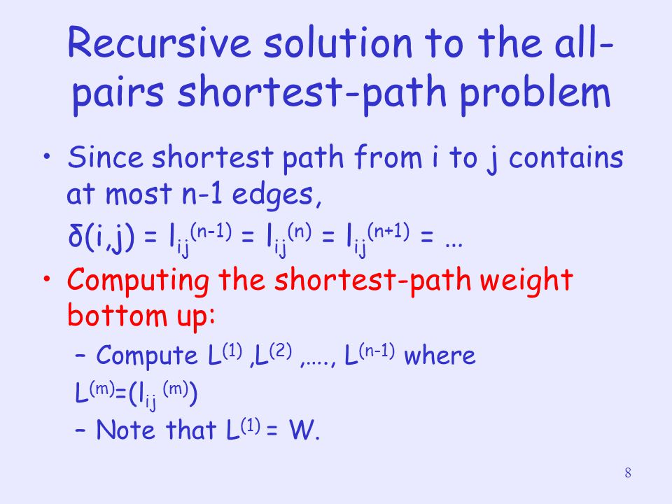 Recursive solution to the all-pairs shortest-path problem