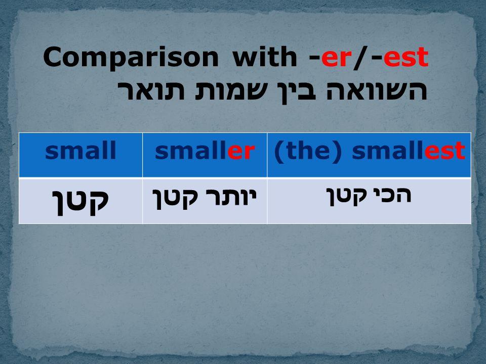 קטן Comparison with -er/-est השוואה בין שמות תואר - (the) smallest