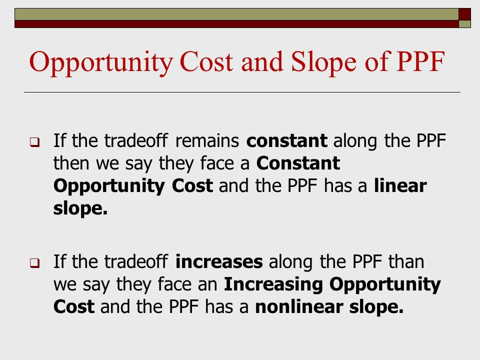Opportunity Cost and Slope of PPF