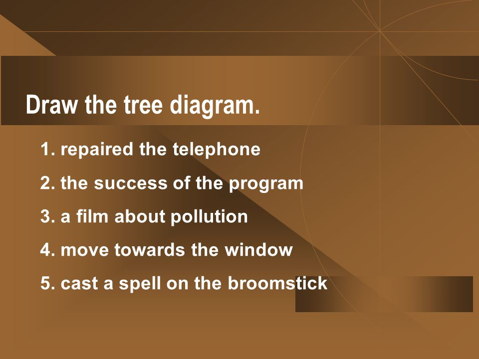 Draw the tree diagram. 1. repaired the telephone