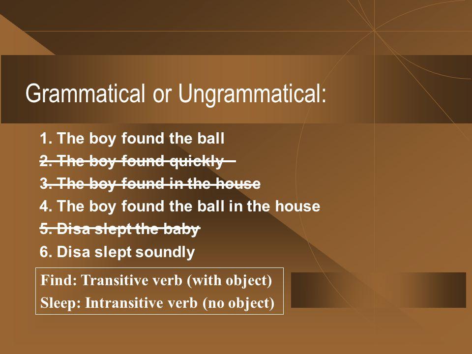 Grammatical or Ungrammatical: