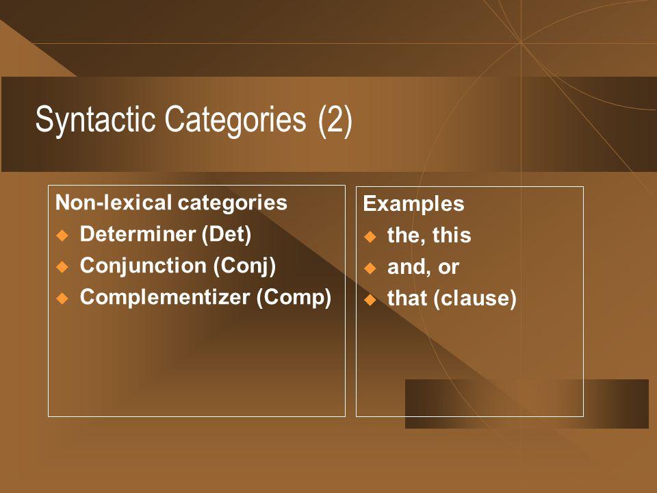Syntactic Categories (2)