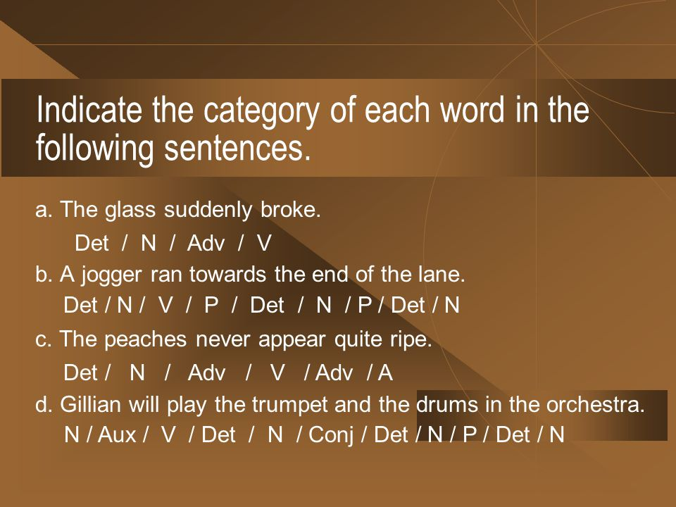 Indicate the category of each word in the following sentences.