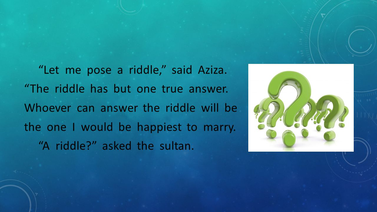 Let me pose a riddle, said Aziza. The riddle has but one true answer.