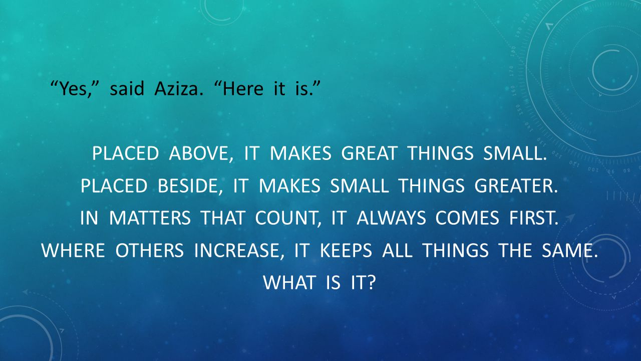 Yes, said Aziza. Here it is