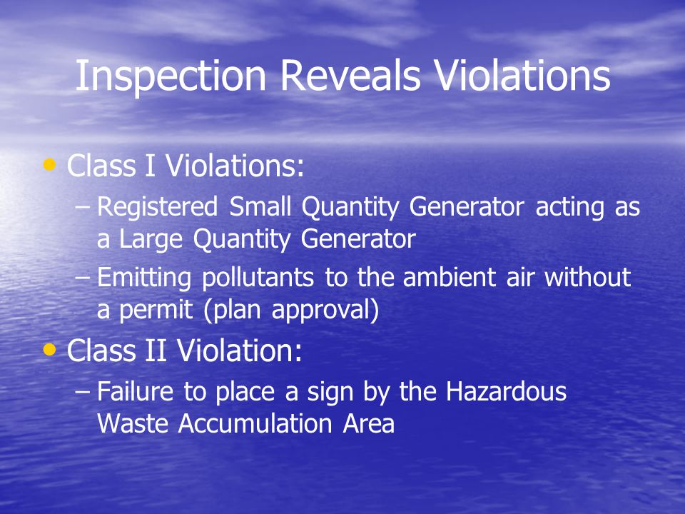 Inspection Reveals Violations