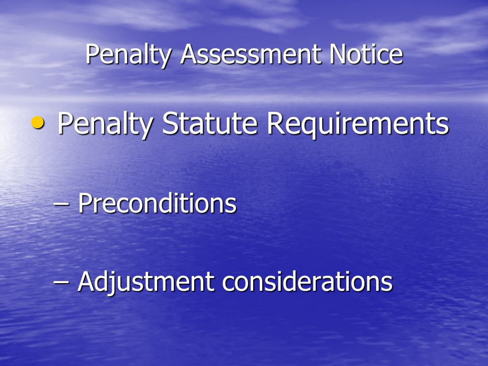 Penalty Assessment Notice