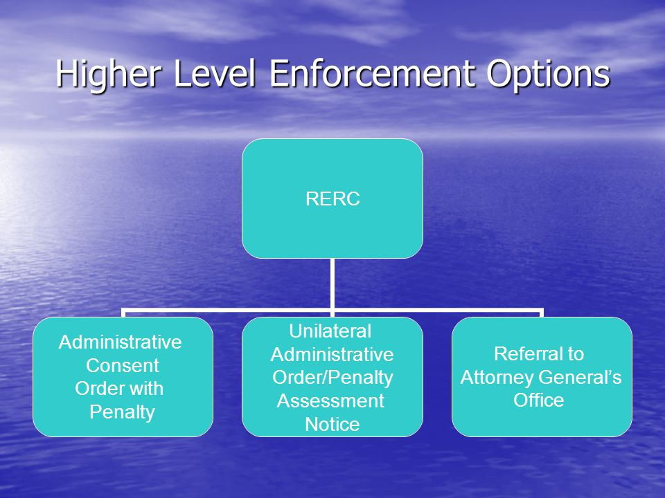 Higher Level Enforcement Options