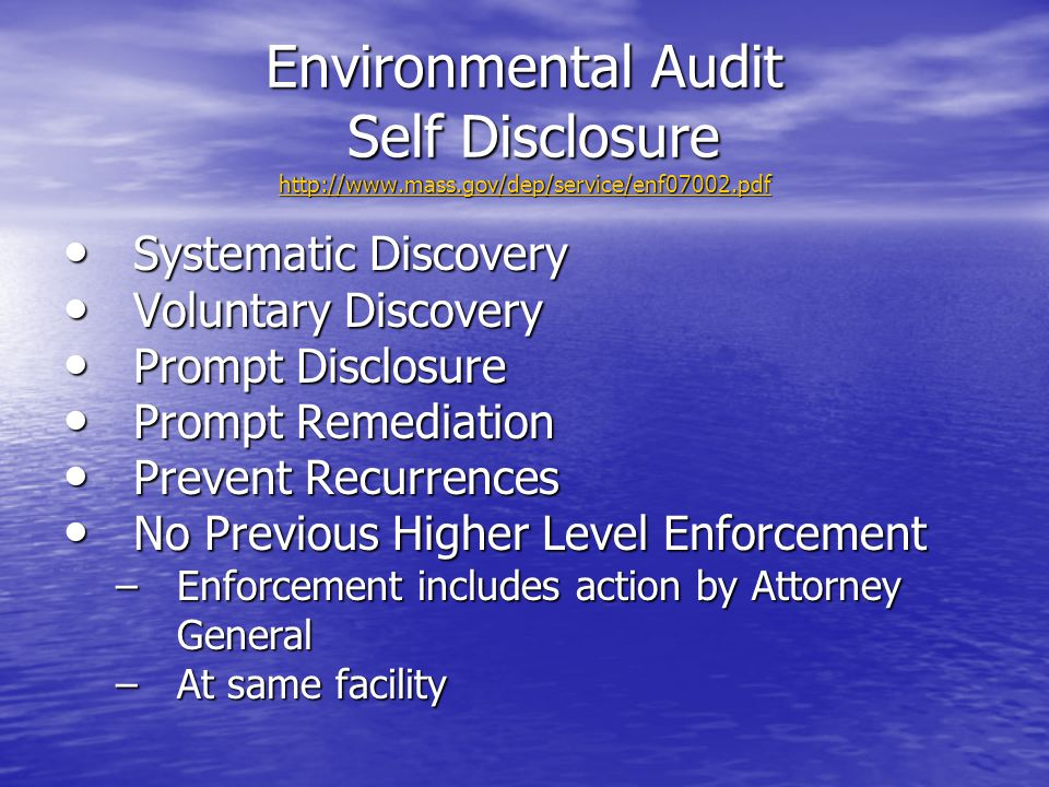 Environmental Audit Self Disclosure http://www. mass