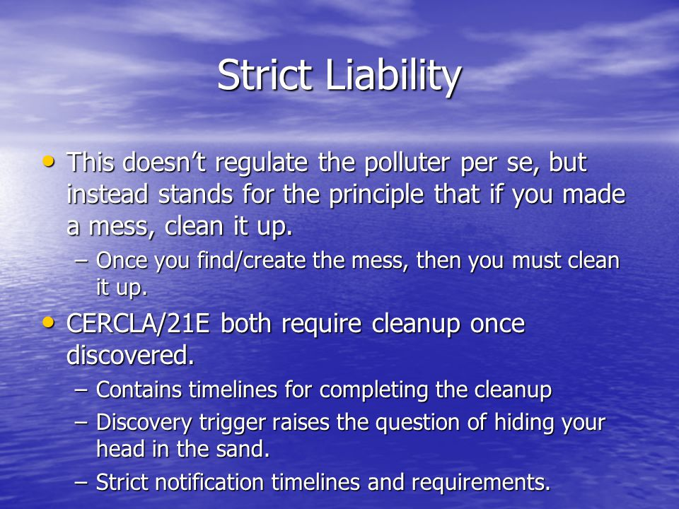 Strict Liability This doesn't regulate the polluter per se, but instead stands for the principle that if you made a mess, clean it up.
