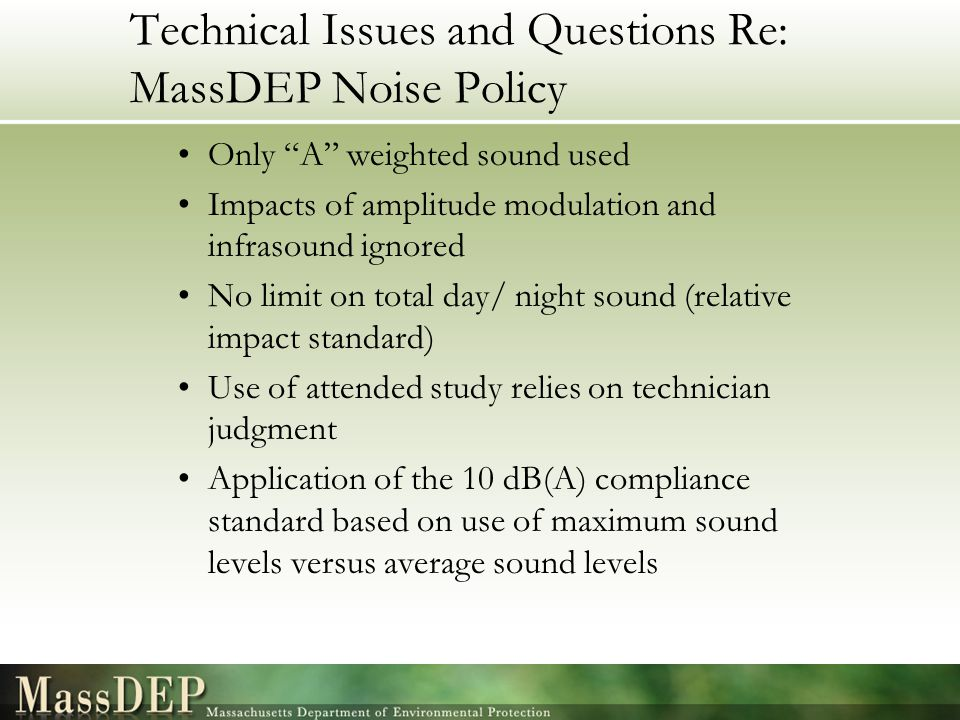 Technical Issues and Questions Re: MassDEP Noise Policy