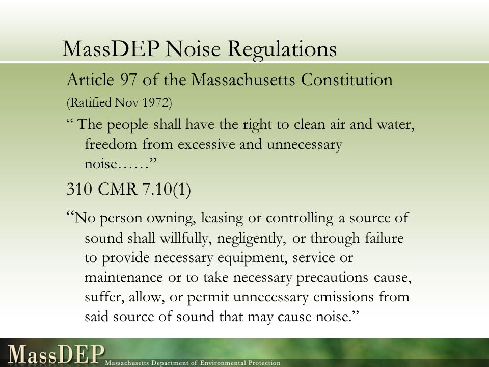 MassDEP Noise Regulations