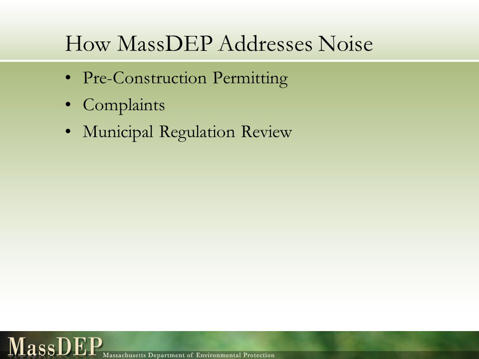 How MassDEP Addresses Noise