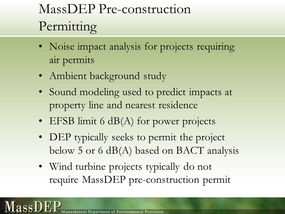 MassDEP Pre-construction Permitting