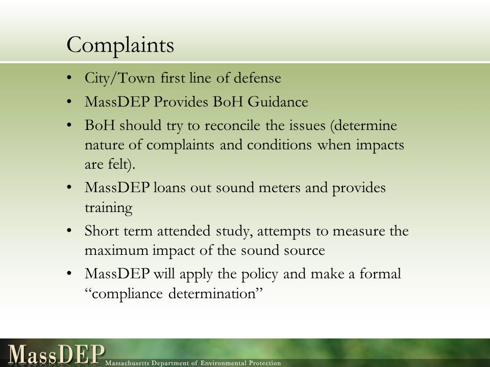Complaints City/Town first line of defense