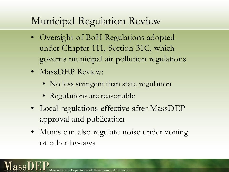 Municipal Regulation Review