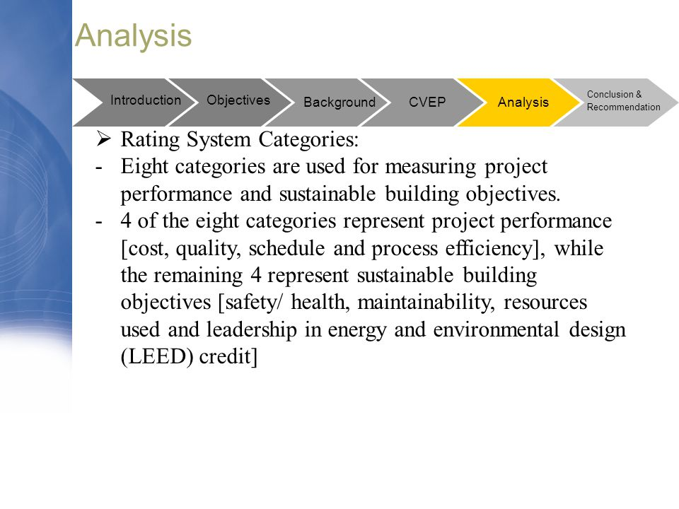 Analysis Rating System Categories: