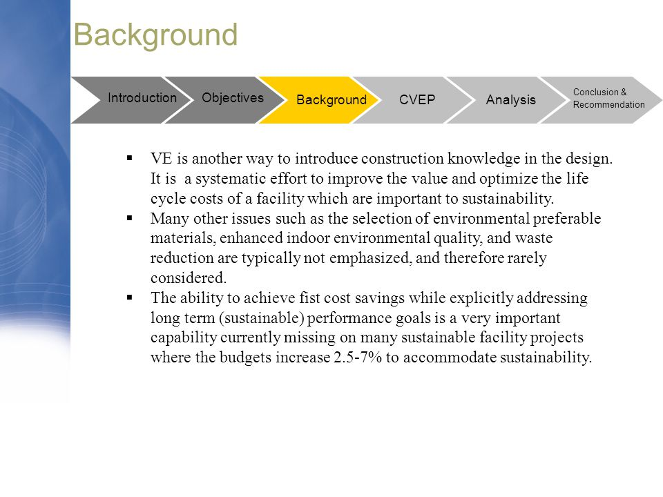 Background Introduction. Objectives. Conclusion & Recommendation. Background. CVEP. Analysis.
