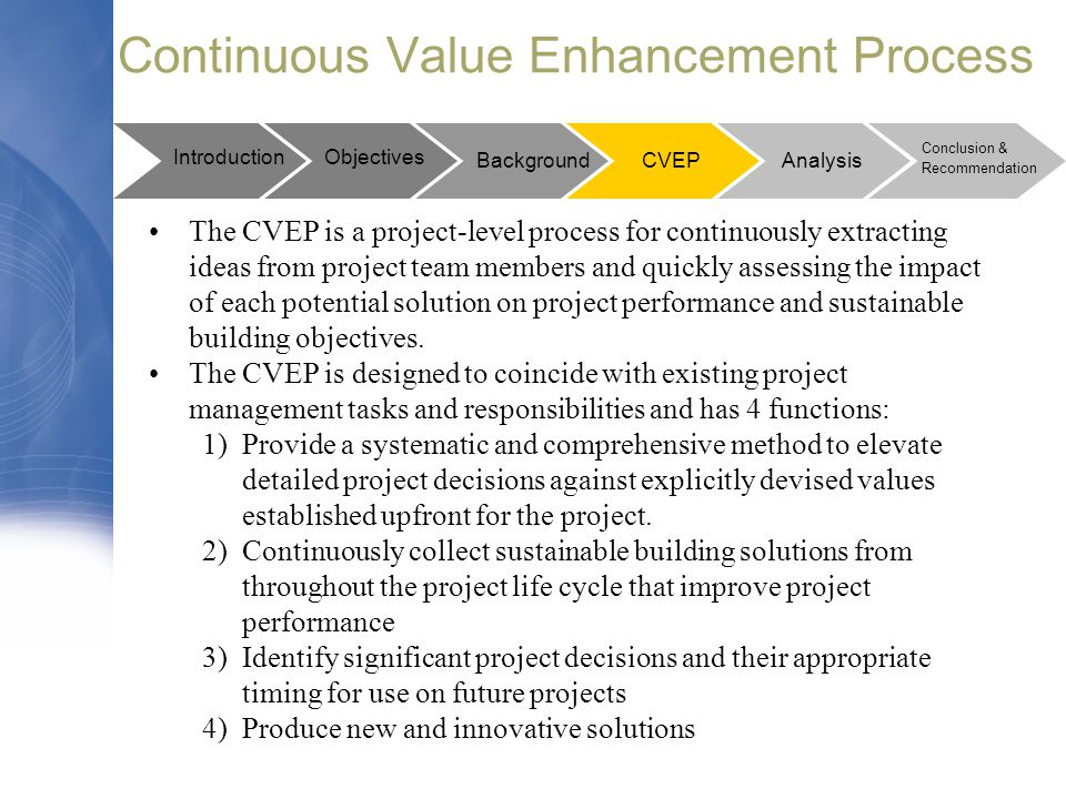 Continuous Value Enhancement Process