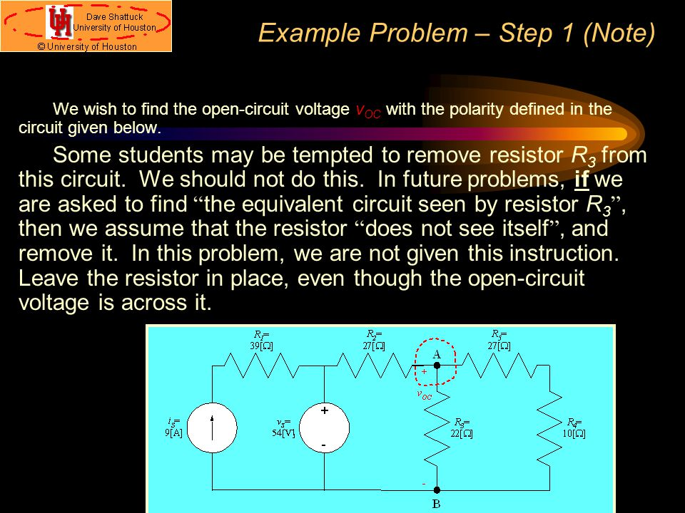 Example Problem – Step 1 (Note)