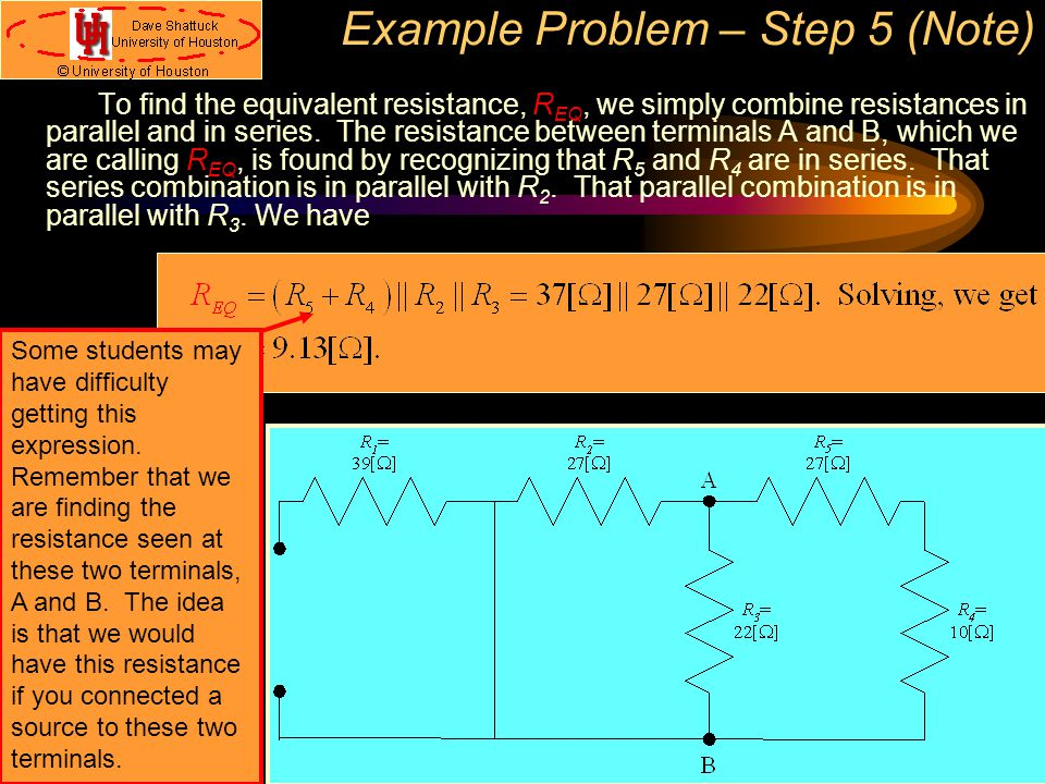 Example Problem – Step 5 (Note)