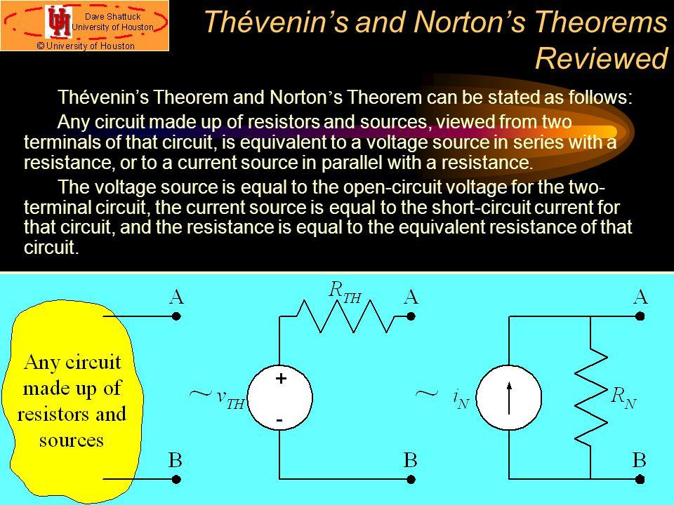 Thévenin's and Norton's Theorems Reviewed