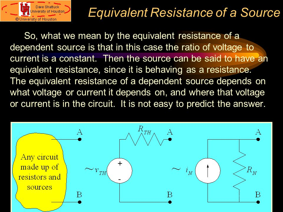 Equivalent Resistance of a Source