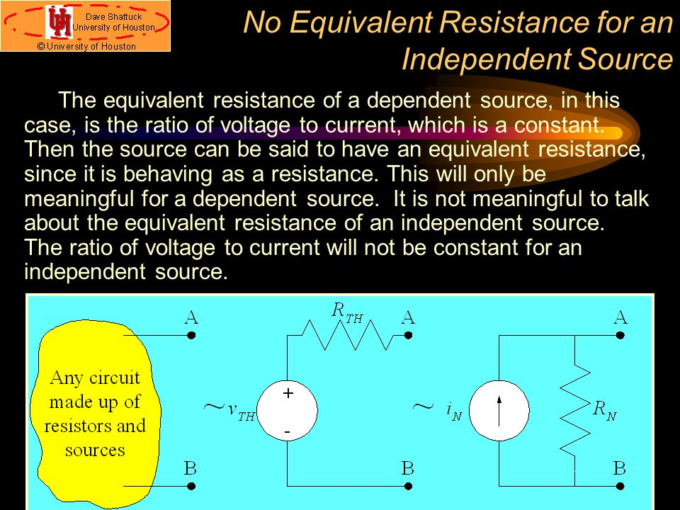 No Equivalent Resistance for an Independent Source