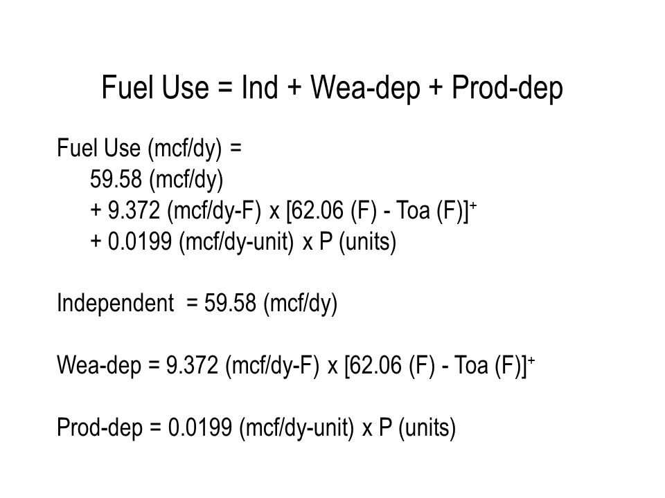 Fuel Use vs Toa: 3PH-MVR R2 = 0.97 CV-RMSE = 5.1% 17