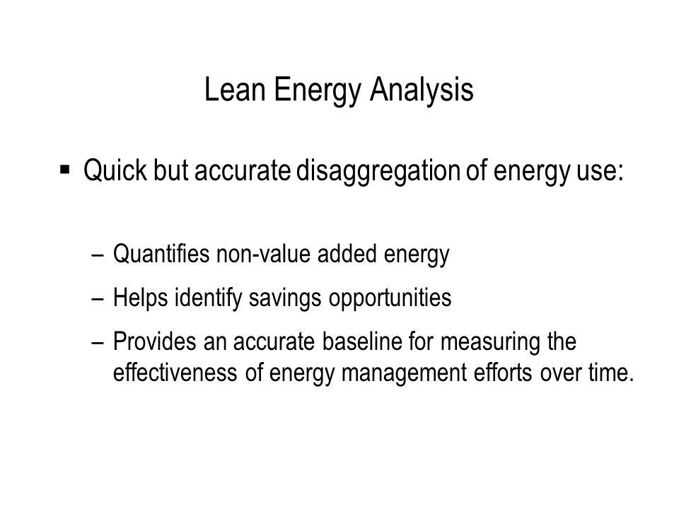 Lean Energy Analysis Called Lean Energy Analysis