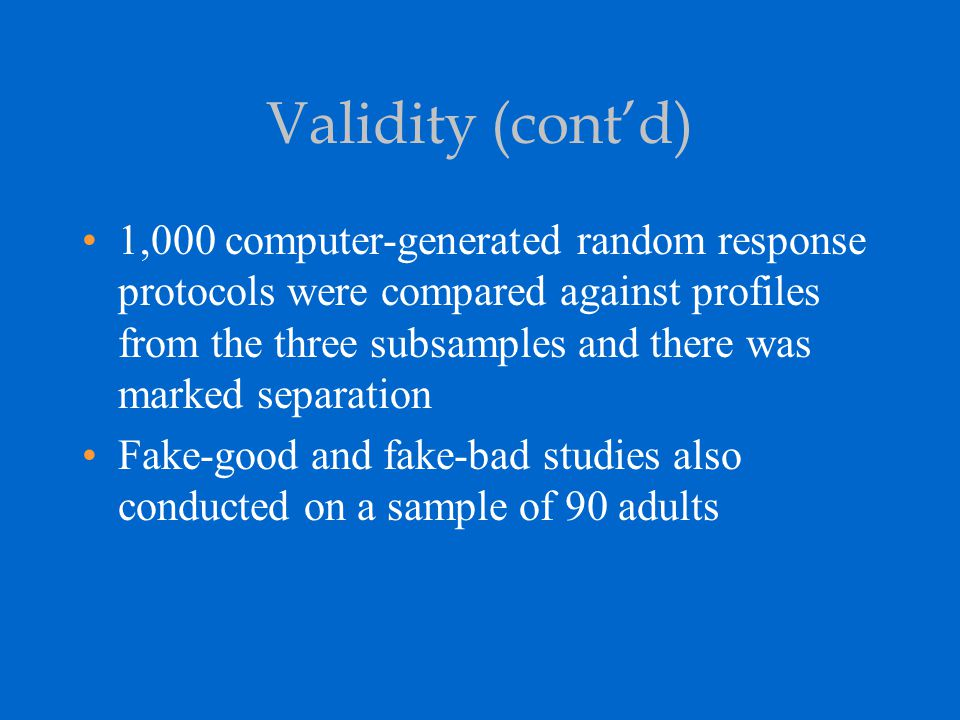 Validity (cont'd)