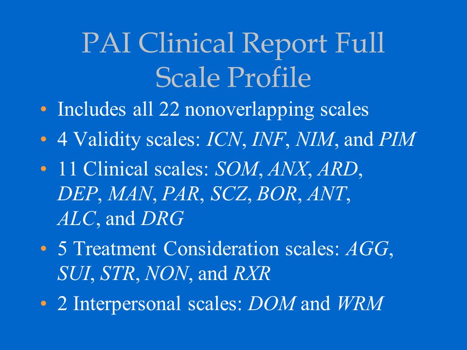 PAI Clinical Report Full Scale Profile