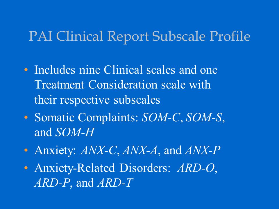PAI Clinical Report Subscale Profile