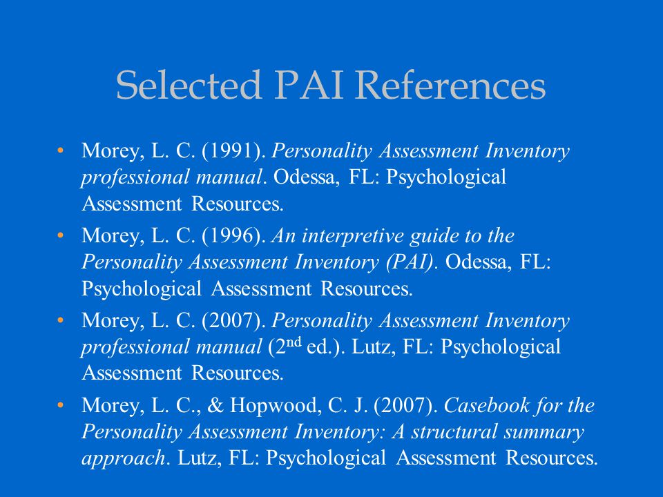 Selected PAI References