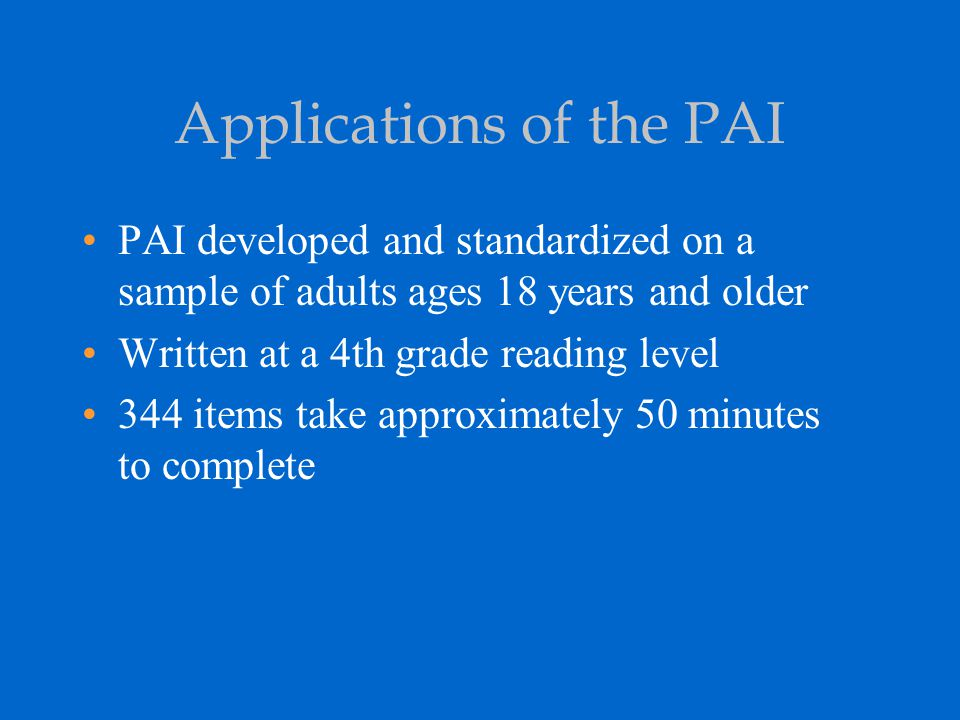 Applications of the PAI