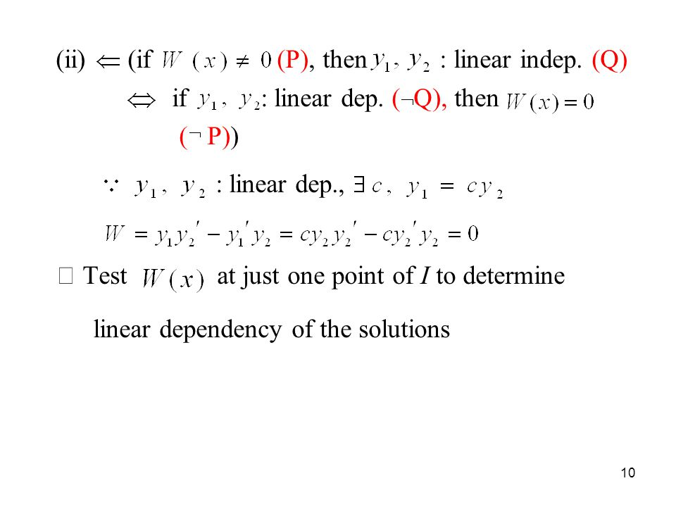 (ii) (if (P), then : linear indep. (Q)