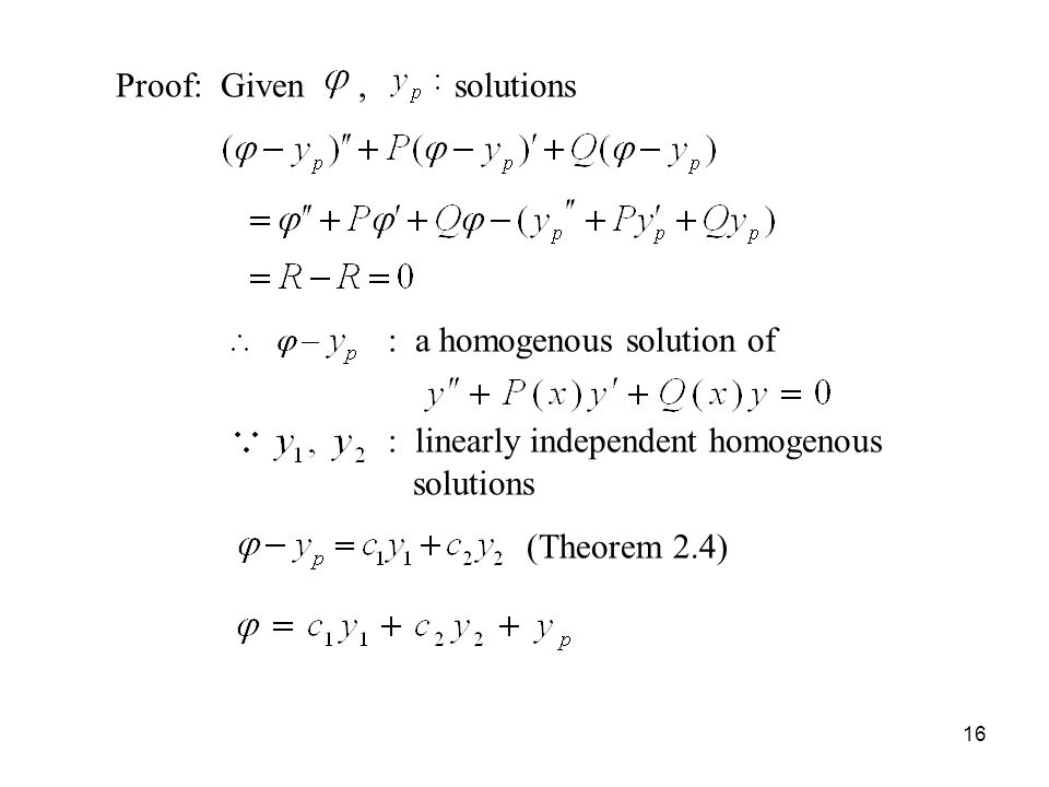 Proof: Given , solutions