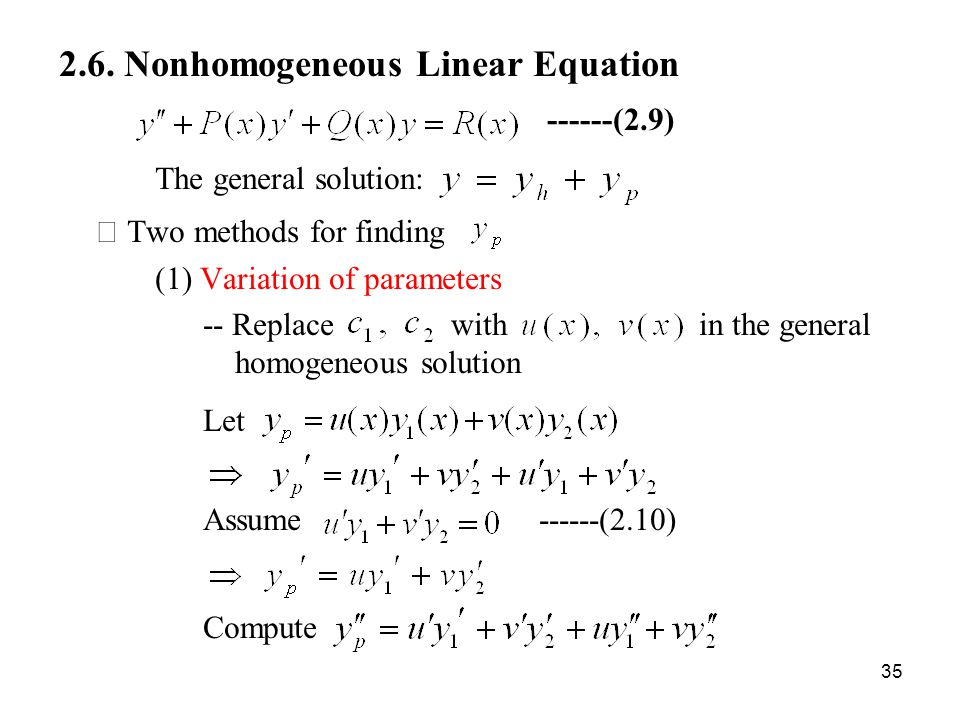 2.6. Nonhomogeneous Linear Equation ------(2.9)