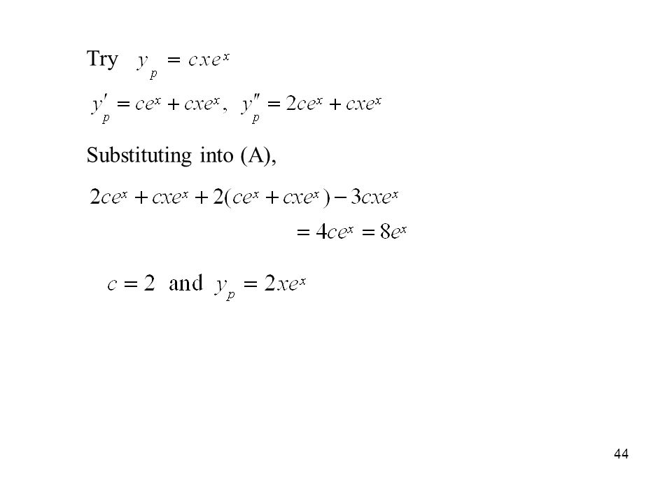 Try Substituting into (A),