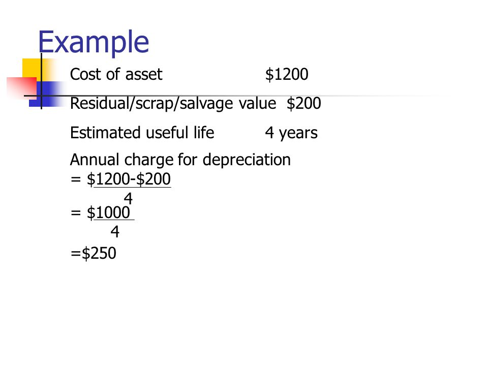 Example Cost of asset $1200 Residual/scrap/salvage value $200