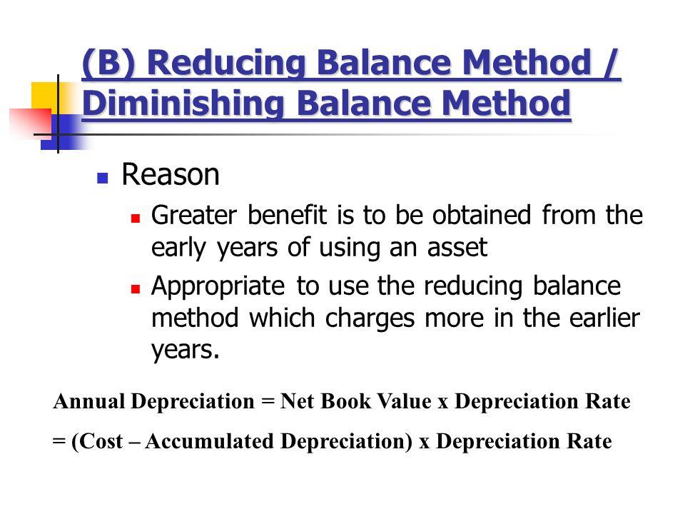 (B) Reducing Balance Method / Diminishing Balance Method