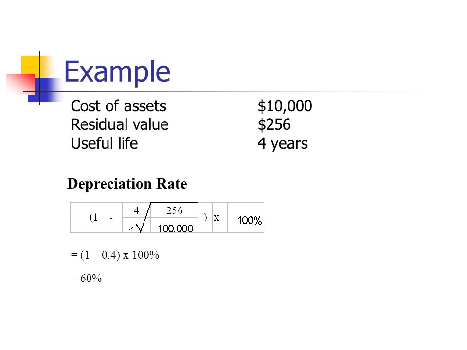Example Cost of assets $10,000 Residual value $256 Useful life 4 years