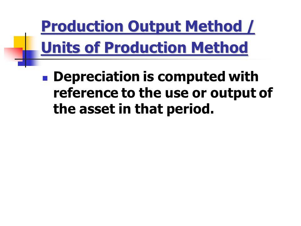 Production Output Method / Units of Production Method