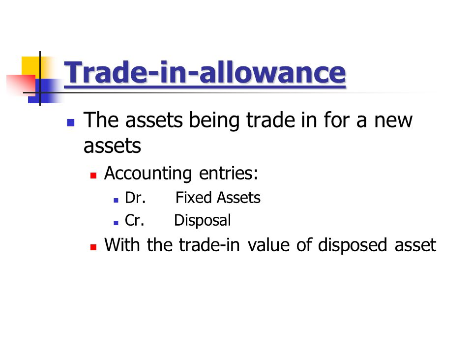 Trade-in-allowance The assets being trade in for a new assets